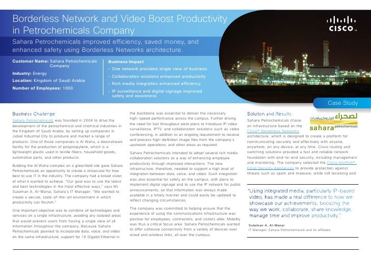 Borderless Network and Video Boost Productivityin Petrochemicals CompanySahara Petrochemicals improved efficiency, saved m...