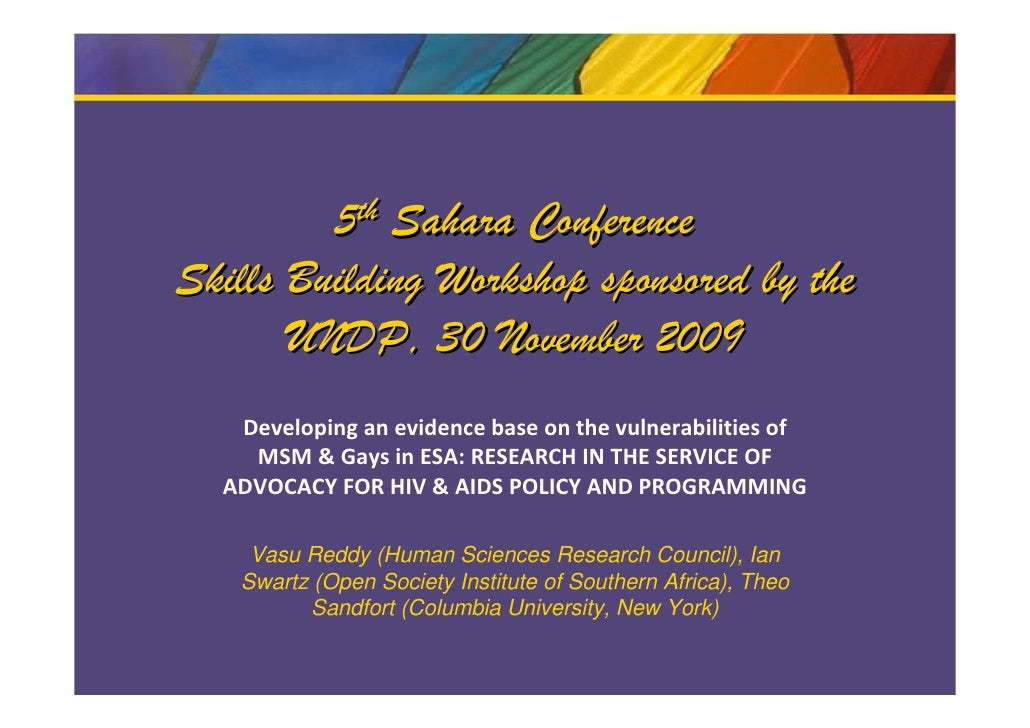 5th Sahara Conference Skills Building Workshop sponsored by the        UNDP, 30 November 2009    Developing an evidence ba...