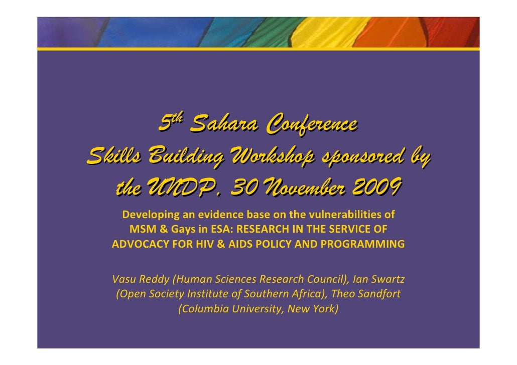 5 th            Sahara Conference Skills Building Workshop sponsored by   the UNDP, 30 November 2009    Developing an evid...