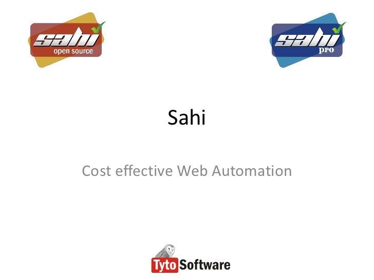 SahiCost effective Web Automation