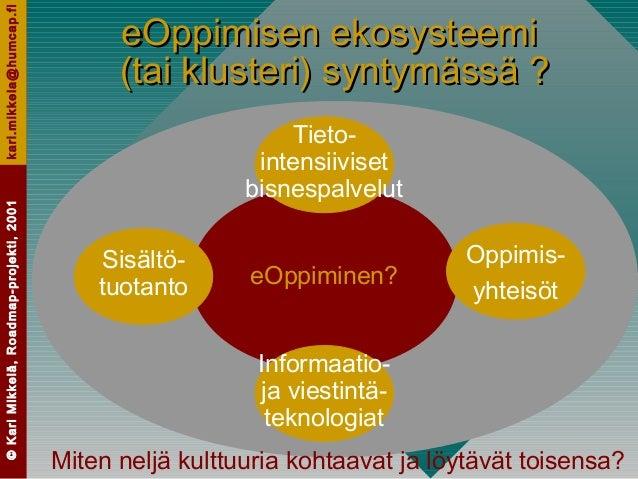 ©KariMikkelä,Roadmap-projekti,2001kari.mikkela@humcap.fi eOppiminen? eOppimisen ekosysteemieOppimisen ekosysteemi (tai klu...