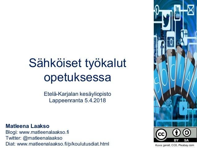 Matleena Laakso Blogi: www.matleenalaakso.fi Twitter: @matleenalaakso Diat: www.matleenalaakso.fi/p/koulutusdiat.html Sähk...