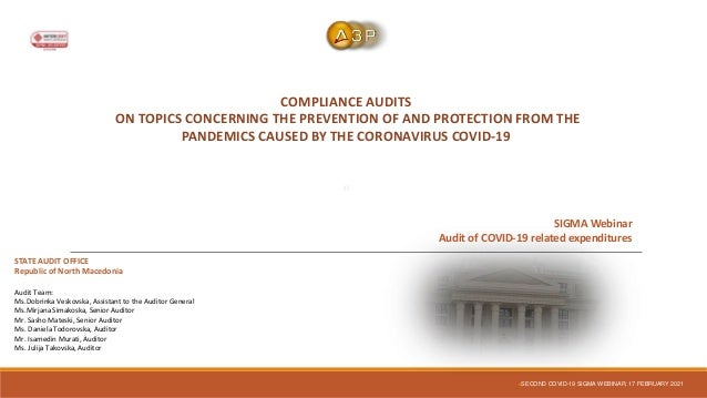 COMPLIANCE AUDITS ON TOPICS CONCERNING THE PREVENTION OF AND PROTECTION FROM THE PANDEMICS CAUSED BY THE CORONAVIRUS COVID...