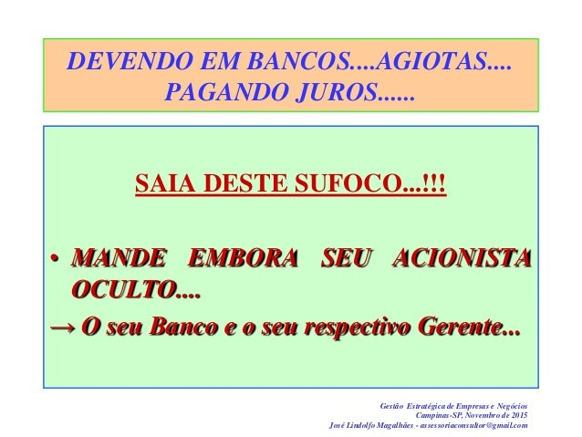 Gestão Estratégica de Empresas e Negócios Campinas-SP, Novembro de 2015 José Lindolfo Magalhães - assessoriaconsultor@gmai...