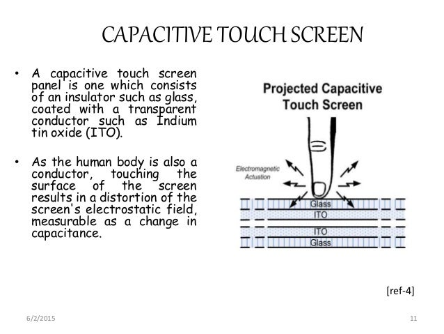 CAPACITIVE TOUCH SCREEN • A capacitive touch screen panel is one which consists of an insulator such as glass, coated with...
