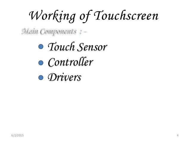 Working of Touchscreen Touch Sensor Controller Drivers 6/2/2015 4