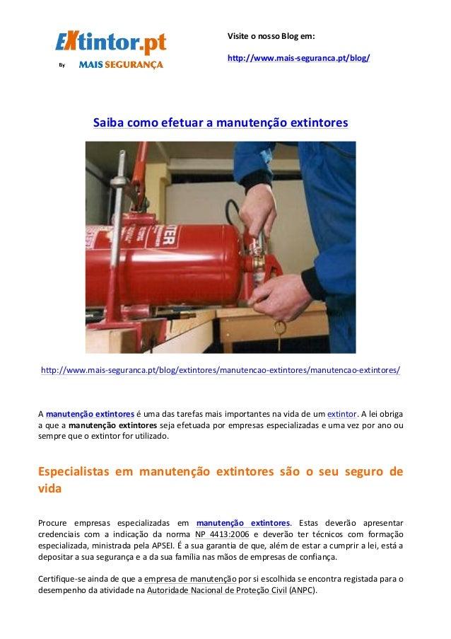 Saiba  como  efetuar  a  manutenção  extintores   ...
