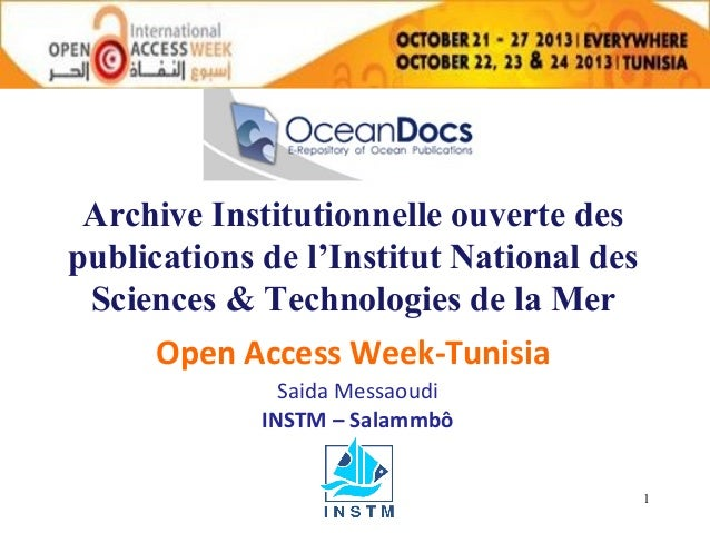 Archive Institutionnelle ouverte des publications de l'Institut National des Sciences & Technologies de la Mer Open Access...