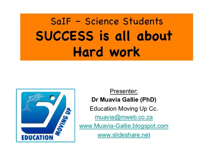 SaIF – Science StudentsSUCCESS is all about    Hard work                Presenter:          Dr Muavia Gallie (PhD)        ...