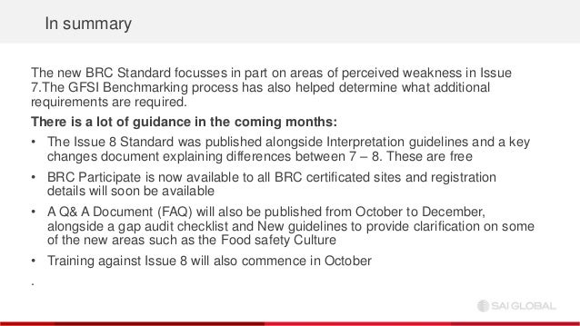 SAI Global Webinar: Deep Dive - BRC Food Safety Issue 8