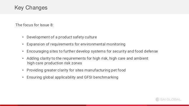SAI Global Webinar: BRC Food Safety Issue 8