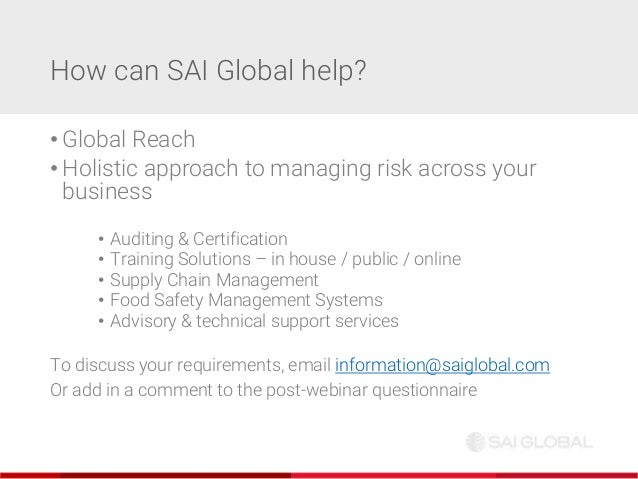 SAI Global webinar: 10 ways to protect your organisation