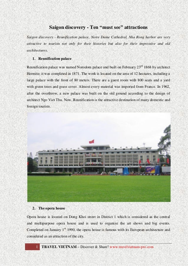 "Saigon discovery - Ten ""must see"" attractions Saigon discovery - Reunification palace, Notre Dame Cathedral, Nha Rong harb..."