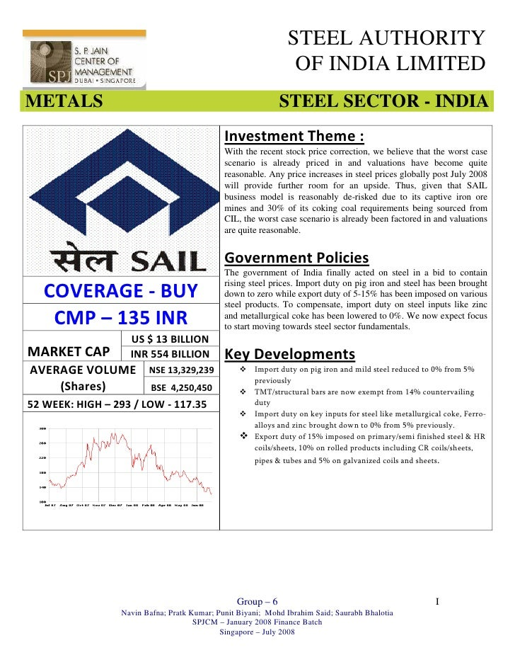 STEEL AUTHORITY                                                                 OF INDIA LIMITED METALS                   ...