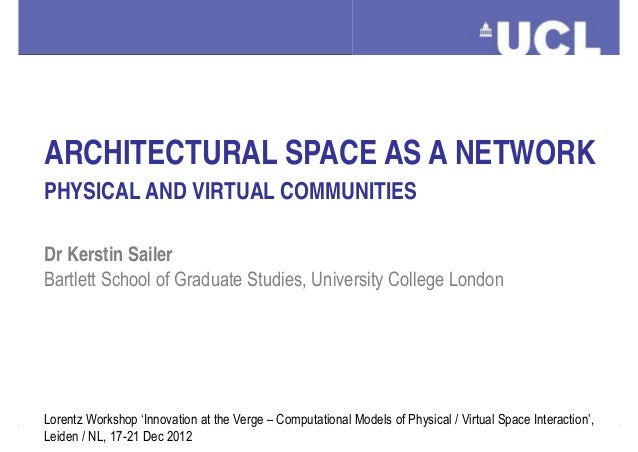 ARCHITECTURAL SPACE AS A NETWORK  PHYSICAL AND VIRTUAL COMMUNITIES  Dr Kerstin Sailer  Bartlett School of Graduate Studies...