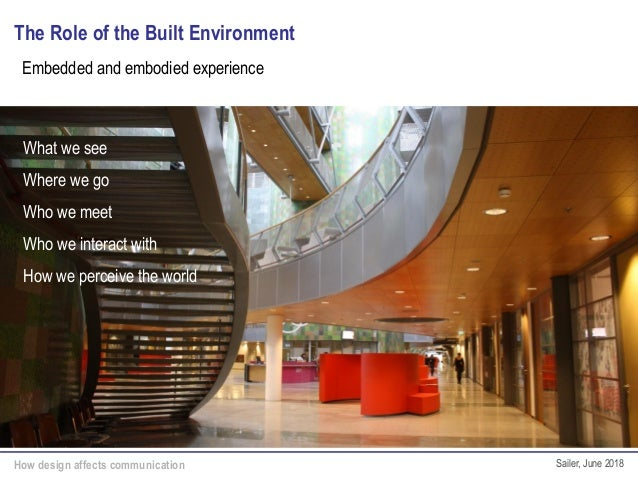 How design affects communication Sailer, June 2018 The Role of the Built Environment What we see Where we go Who we meet W...