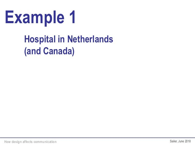How design affects communication Sailer, June 2018 Example 1 Hospital in Netherlands (and Canada)