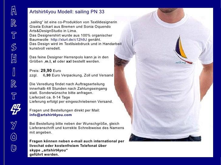 """A   Artshirt4you Modell: sailing PN 33  R   """"sailing"""" ist eine co-Produktion von Textildesignerin     Gisela Eckart aus Br..."""