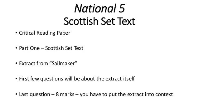 sailmaker alan spence critical essay National 5 close reading: word choice  critical thinking  top 10 tips for how to write a/8 & 9 english literature essay 2018 // gcse.