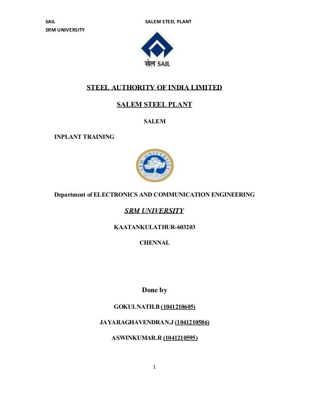 Sail Ssp Ipt Report By Srm Univ