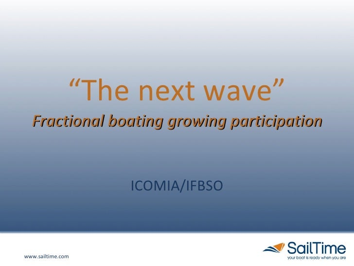 """"""" The next wave"""" Fractional boating growing participation ICOMIA/IFBSO"""