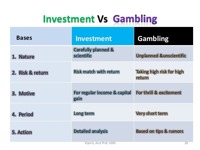 Gambling investment slot machine rule