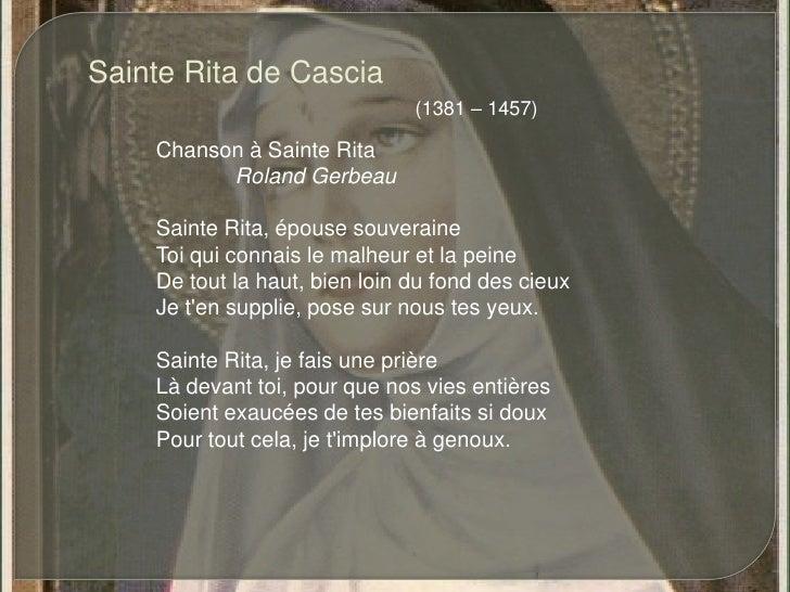 Sainte Rita de Cascia<br />(1381 – 1457)<br />Chanson à Sainte Rita<br />Roland Gerbeau<br />Sainte Rita, épouse souverai...