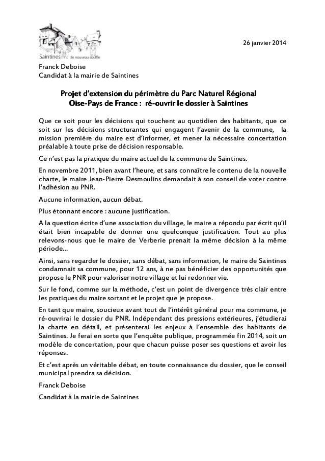 26 janvier 2014  Franck Deboise Candidat à la mairie de Saintines  d'extension Projet d'extension du périmètre du Parc Nat...