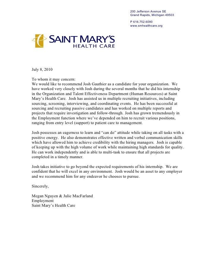 health care letter of recommendation