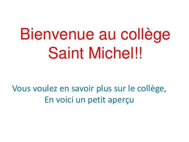 Bienvenue au collège  Saint Michel!!  Vous voulez en savoir plus sur le collège,  En voici un petit aperçu