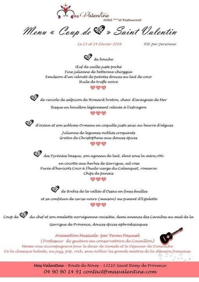 Saint-Valentin 2016 restaurants Saint Remy de Provence
