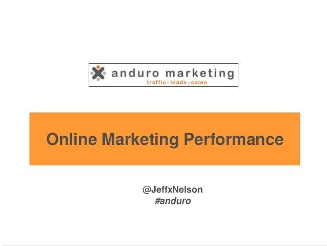 Online Marketing Performance @JeffxNelson #anduro