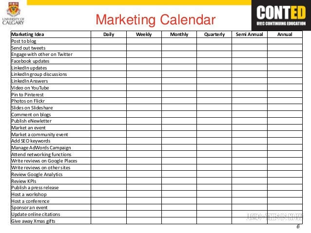 Calendar Templates Madrat Co. Marketing Calendar Template