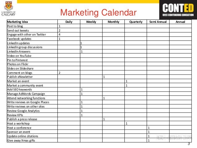 Marketing Activity Calendar Template Image Collections Template