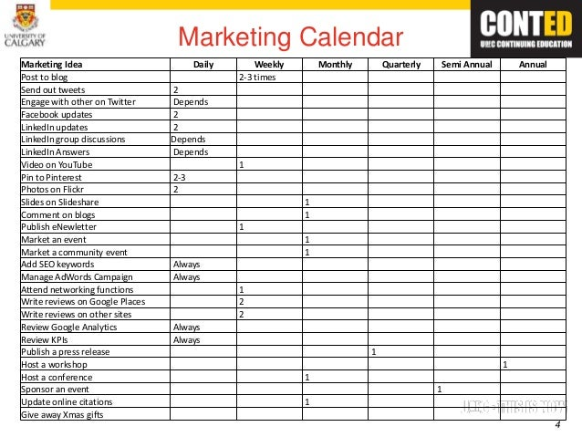 Computer hardware marketing strategy for Annual event calendar template