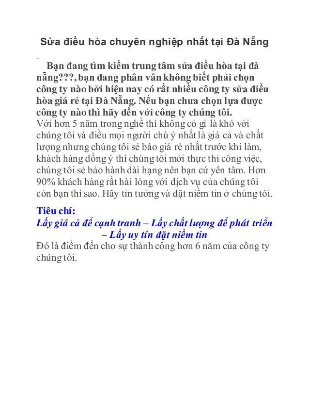 Sửa điều hòa chuyên nghiệp nhất tại Đà Nẵng Bạn đang tìm kiếm trung tâm sửa điều hòa tại đà nẵng???, bạn đang phân vân khô...