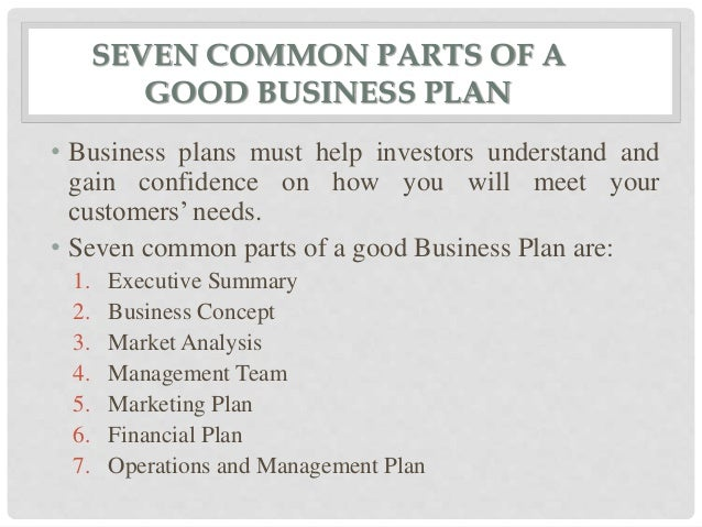 9 parts of a business plan