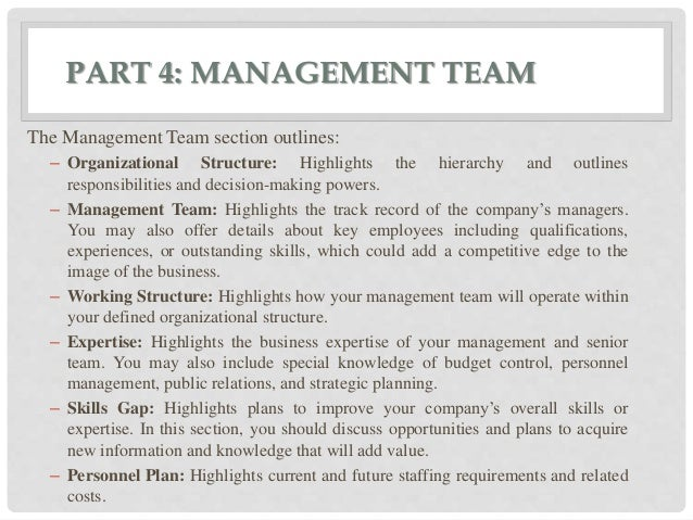 Organization and management section of business plan