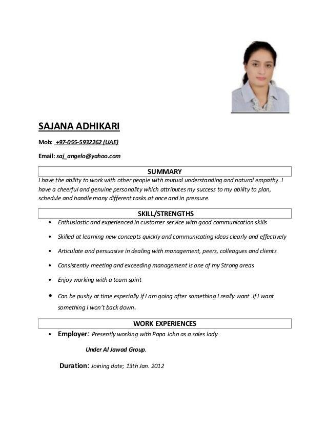 saleslady resume sample - sajana resume
