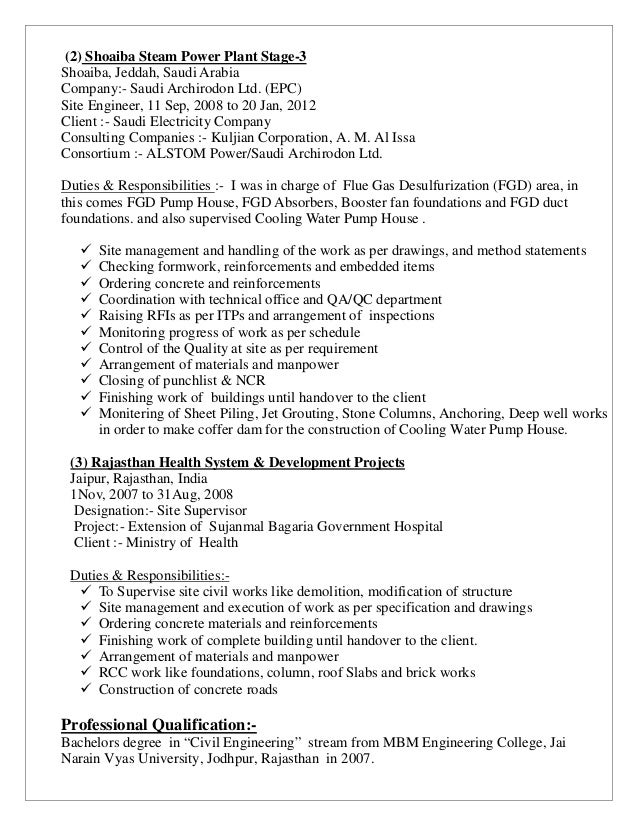 sajid cv be civil 2007 - Duties Of A Civil Engineer