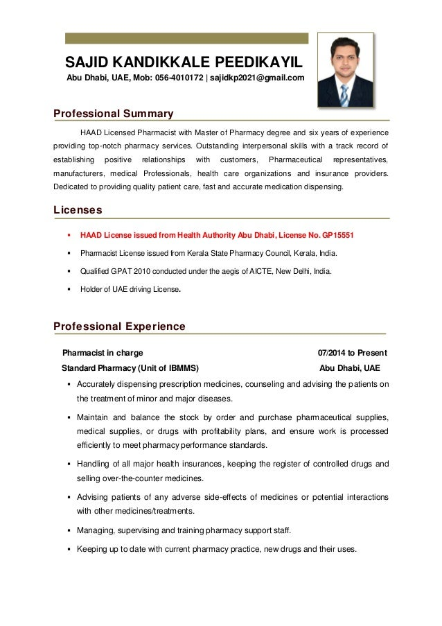 Sajid Kp Pharmacist Cv Updated