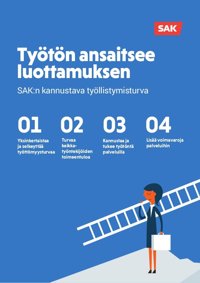 Työtön ansaitsee luottamuksen 04Lisää voimavaroja palveluihin 02Turvaa keikka- työntekijöiden toimeentuloa SAK:n kannustav...