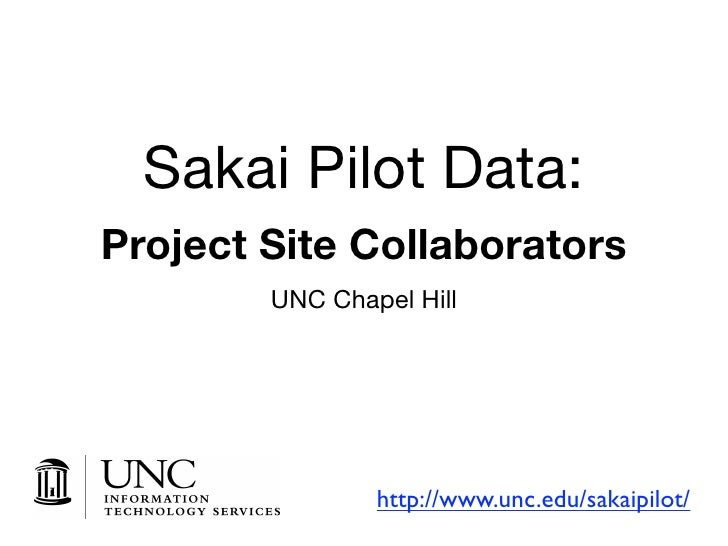 Sakai Pilot Data: Project Site Collaborators         UNC Chapel Hill                     http://www.unc.edu/sakaipilot/