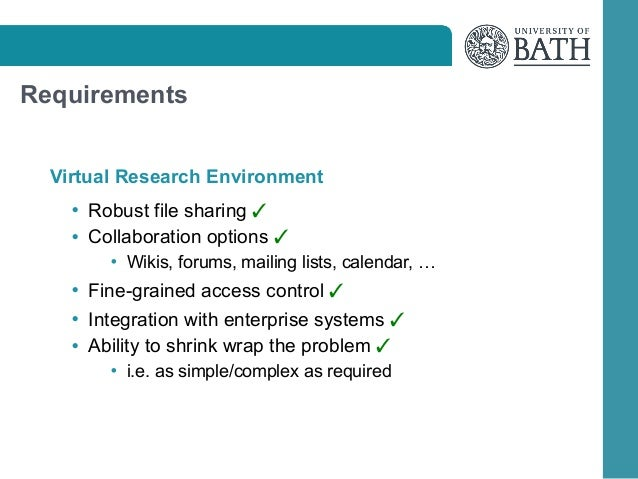 Requirements Virtual Research Environment • Robust file sharing  • Collaboration options  • Wikis, forums, mailing lists, ...