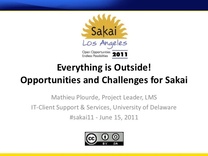 Everything is Outside!Opportunities and Challenges for Sakai          Mathieu Plourde, Project Leader, LMS  IT-Client Supp...