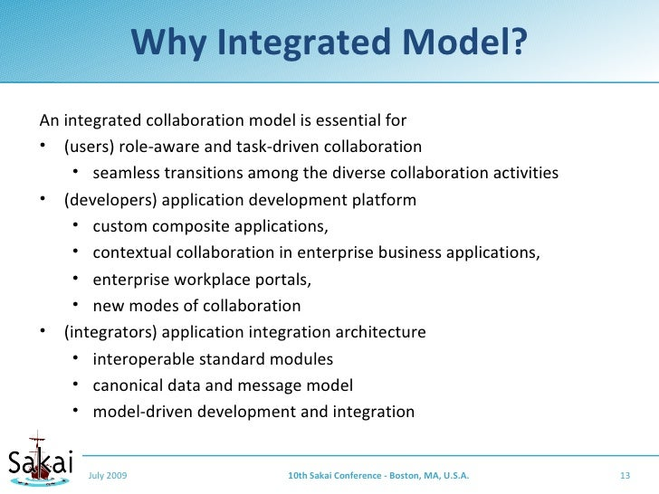 Why Integrated Model? An integrated collaboration model is essential for • (users) role-aware and task-driven collaboratio...