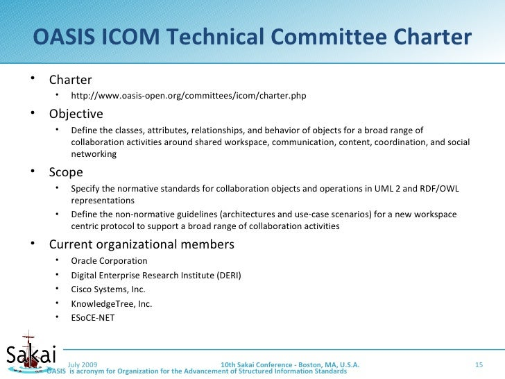 OASIS ICOM Technical Committee Charter •   Charter       •    http://www.oasis-open.org/committees/icom/charter.php •   Ob...