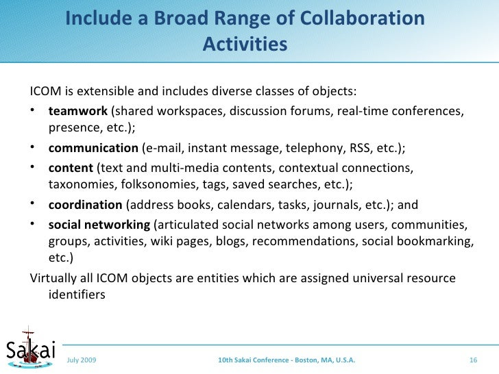 Include a Broad Range of Collaboration                     Activities ICOM is extensible and includes diverse classes of o...