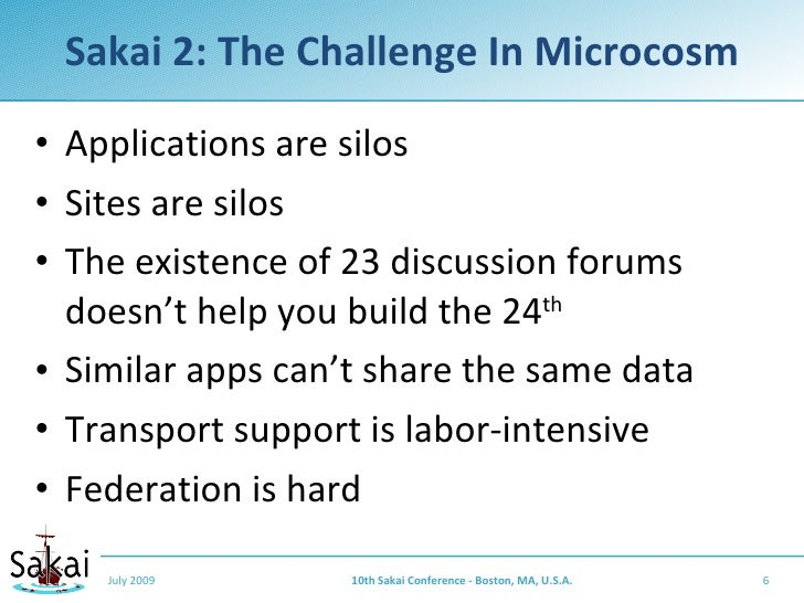 Sakai 2: The Challenge In Microcosm  • Applications are silos • Sites are silos • The existence of 23 discussion forums   ...