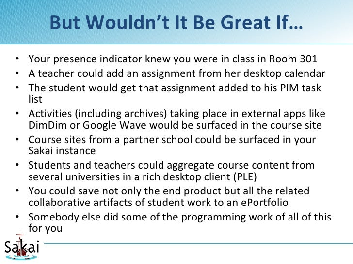 But Wouldn't It Be Great If… • Your presence indicator knew you were in class in Room 301 • A teacher could add an assignm...